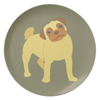 Prato Cão adorável do Pug