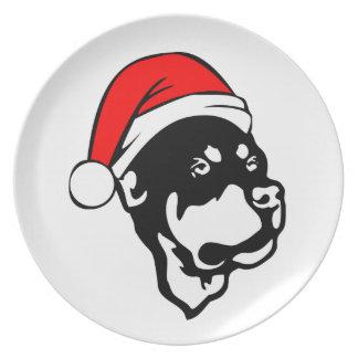 Prato Cão de Rottweiler que veste o chapéu vermelho do