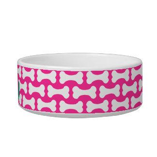 Prato cor-de-rosa e branco do animal de estimação tijelas para comida de gatos