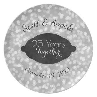 Prato De Festa 25o Prata da lembrança do aniversário de casamento