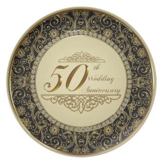 Prato De Festa 50th Placa da melamina do aniversário de casamento