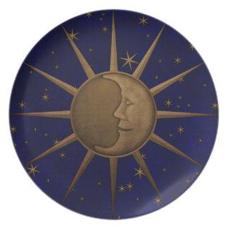 Prato De Festa Gráfico de bronze do alivio de Bas da lua
