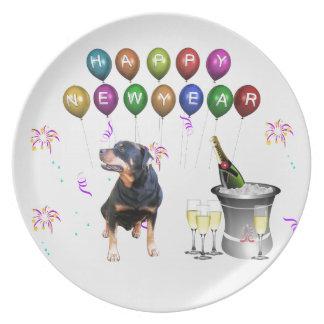 Prato De Festa O feliz ano novo do cão de Rottweiler
