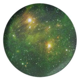 Prato De Festa Placa 6 do espaço - nebulosa verde