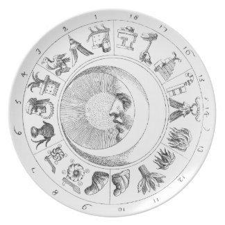 Prato De Festa Placa antiga da astronomia-astrologia