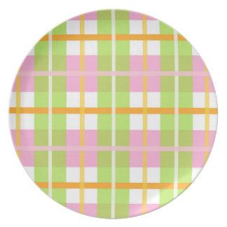 Prato De Festa Placa cor-de-rosa da melamina da xadrez