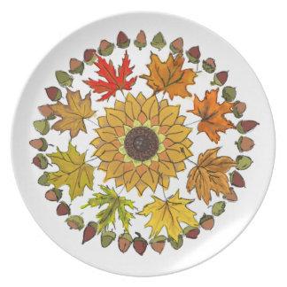 Prato De Festa Placa da melamina da grinalda da queda - folhas e