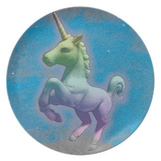 Prato De Festa Placa da melamina do unicórnio (nebulosa azul)