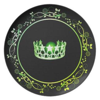 Prato De Festa Placa verde da coroa da senhorita EUA com beira