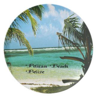 Prato De Festa Praia Belize do pelicano