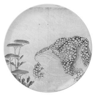 Prato De Festa Sapo e flores - japonês (período de Edo)