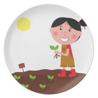 Prato De Festa T-shirt criativos da menina bonito da agricultura
