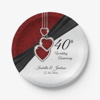 Prato De Papel 40th Aniversário de casamento do rubi