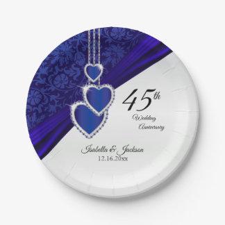 Prato De Papel 45th/65th design do aniversário de casamento da