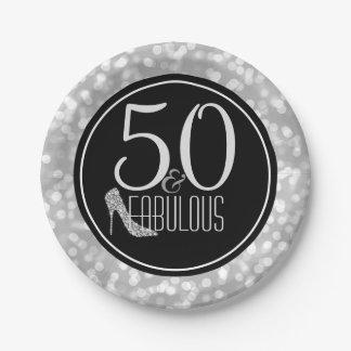 Prato De Papel 50 & festa de aniversário   preta fabulosa da