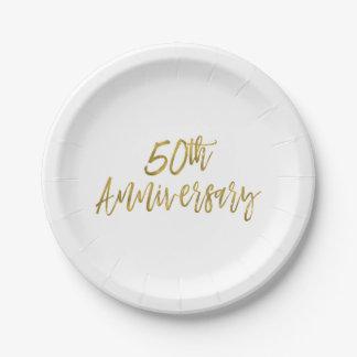 Prato De Papel 50th Folha de ouro do aniversário de casamento