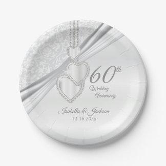 Prato De Papel 60th Aniversário de casamento do diamante