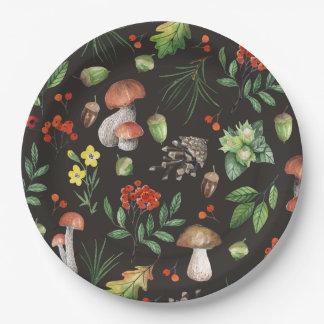 Prato De Papel A floresta da aguarela sae cogumelos de flores  