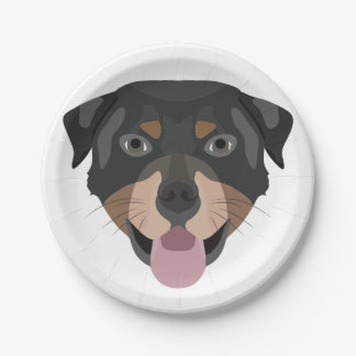 Prato De Papel A ilustração persegue a cara Rottweiler