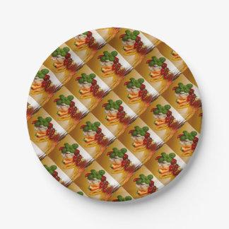 Prato De Papel Alho dos tomates da manjericão das pimentas