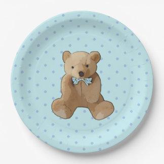 Prato De Papel Azul do urso de ursinho e placa pontilhada polca