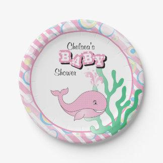 Prato De Papel Baleia pontilhada do bebé polca cor-de-rosa