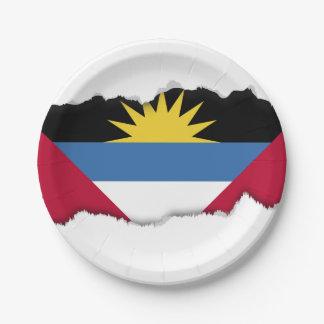 Prato De Papel Bandeira de Antígua e de Barbuda