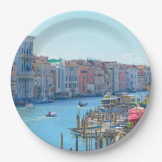 Prato De Papel Barcos nos canais de Veneza Italia