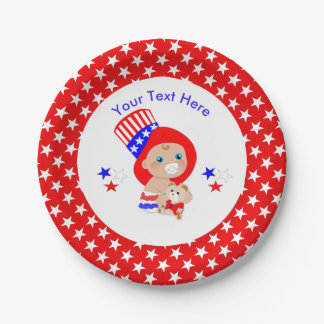 Prato De Papel Bebê americano do tio Sam patriótico personalizado