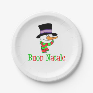 Prato De Papel Boneco de neve italiano do Feliz Natal de Buon