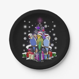 Prato De Papel Budgerigars com presente e flocos de neve do Natal