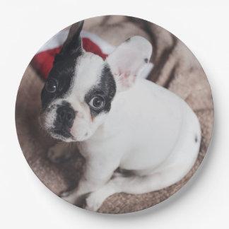 Prato De Papel Cão de Papai Noel - pug engraçado - persiga claus
