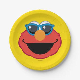 Prato De Papel Cara de sorriso de Elmo com óculos de sol