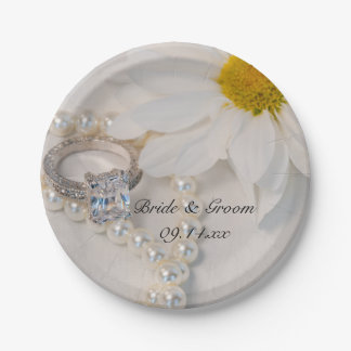Prato De Papel Casamento elegante da margarida branca