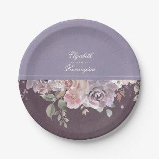 Prato De Papel Casamento floral malva do vintage da ameixa e do