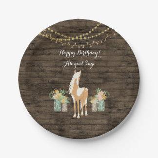Prato De Papel Cavalo personalizado, aniversário de madeira