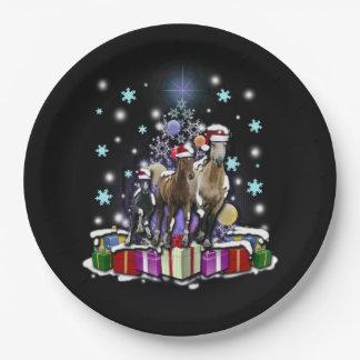 Prato De Papel Cavalos com estilos do Natal