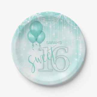 Prato De Papel Cerceta ID473 do doce 16 das luzes & dos balões da