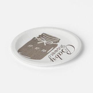 Prato De Papel Chá de fraldas rústico do frasco de pedreiro de