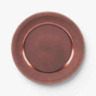 Prato De Papel cobre do falso da Frisado-borda/design cor-de-rosa