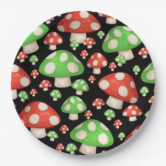 Prato De Papel Cogumelos vermelhos e verdes
