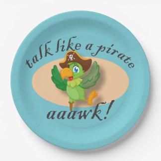Prato De Papel Conversa como um papagaio do pirata