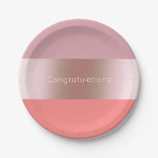 Prato De Papel Coral cor-de-rosa do rosa do ouro do pintinho