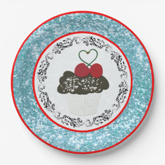 Prato De Papel Cupcake bonito do chocolate com brilho azul do