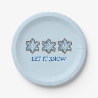 Prato De Papel Deixais lhe para nevar floco de neve Hanukkah do