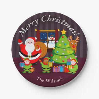 Prato De Papel Desenhos animados de Papai Noel que entregam