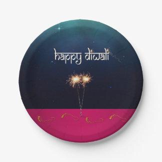 Prato De Papel Diwali feliz Sparkling - placa de papel