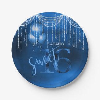 Prato De Papel Doce 16 DK ID473 azul das luzes & dos balões da