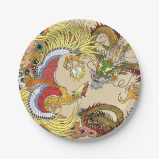 Prato De Papel Dragão e phoenix chineses