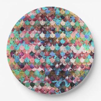 Prato De Papel Escalas de peixes coloridas chiques da sereia da